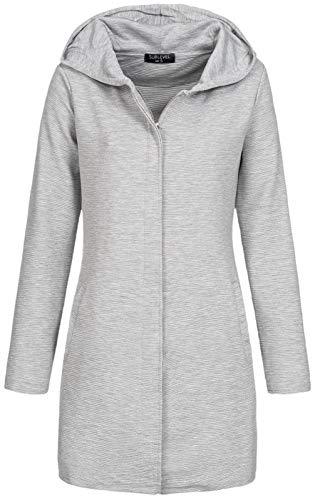 Sublevel Damen Kurzmantel LSL-395 Lange Jacke mit Kapuze Grey Mel M