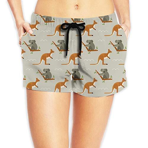 Redsheep Koala Kangaroo Kangaroo Damen Beach Shorts Boardshorts mit Pocket Swimming Trunks-Large