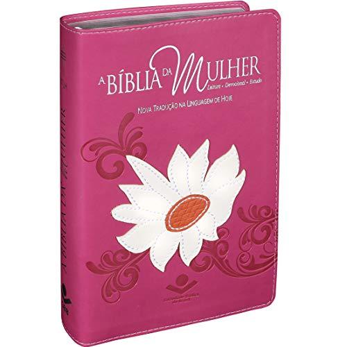 A Bíblia da Mulher com índice - NTLH: Capa couro sintético rosa com margarida
