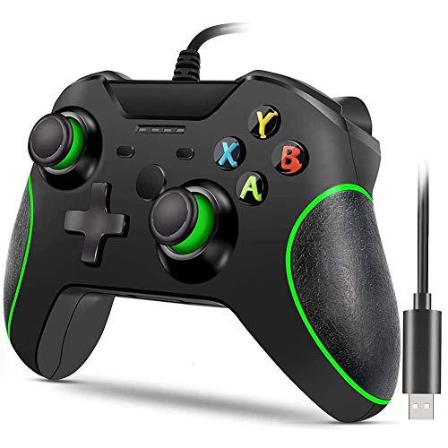 Xbox One-Controller mit Kabel,kabelgebundener Xbox One-Gamecontroller,USB-Gamepad-Gamecontroller,Xbox One-Controller mit Audio-Buchse Dual-Vibration,Geeignet für Xbox One,PC Windows 7/8/10(Schwarz)