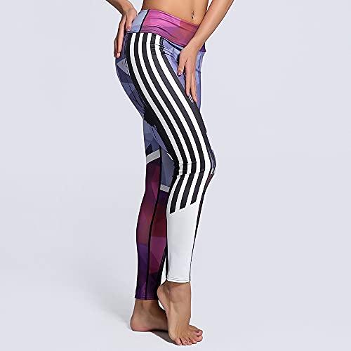 Yoga Impresión Pantalones,Rayas Gradiente De Las Mujeres 3D Entrenamiento De Impresión De Cintura Alta Patrón De Yoga 3/4 Pantalones, Delgado Y Ligero De Secado Rápido Levantamiento De Cadera Con