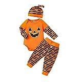Yassiglia Completo di Halloween per Neonati Tutine per Bambini Tuta Neonato con Stampa di Lettere Pantalone Cappellino Completo Bambini Autunnale(Strisce arancioni,12-18 mesi)