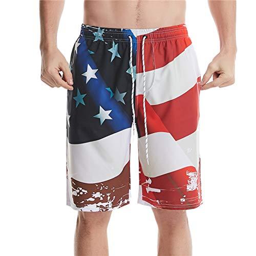 Pantalones Cortos elásticos con cordón de Cintura elástica para Hombre Moda de Verano Impresión Digital 3D Pantalones Cortos Deportivos cómodos Casuales L