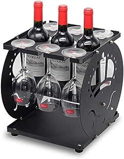 DJSMjbj Support métal Table Goblet Support Wine Rack Bar Cuisine Peut contenir 3 Bouteilles de vin 6 Gobelets Stockage Rack