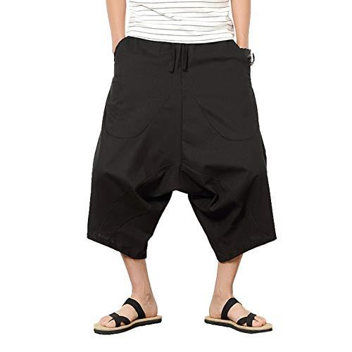ZumZup Herren Sommer Leinenshorts Capri Lässig Hose Low Crotch Strandshorts Freizeit Schwarz Asie XL: Taille 80cm/31.5