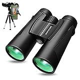 Powerful Binoculars for Adults, 12X42 High Power Binocular for Bird Watching with Smartphone Holder & Tripod IPX7 Waterproof Binoculars 18mm Large Eyepiece BAK4 Prism Lens for Hunting Sports Games