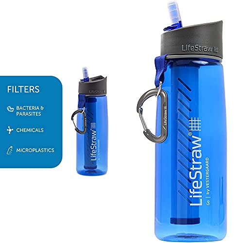LifeStraw Go 2 Nachfüllbare Wasserflasche mit Eingebautem (2-Stufig) Blue Filter, Blau, M & Go - Wasserflasche