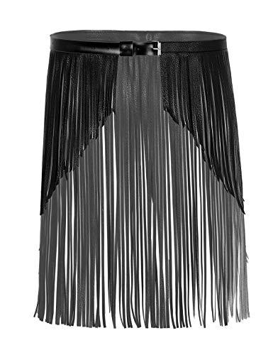 MSemis Falda Cinturón de Flecos para Mujer Disfraz Punk Falda Vintage de Cuero Chica Bufanda de Cadera Traje Pole Dance Bodycon Disfraz Despedida Soltera