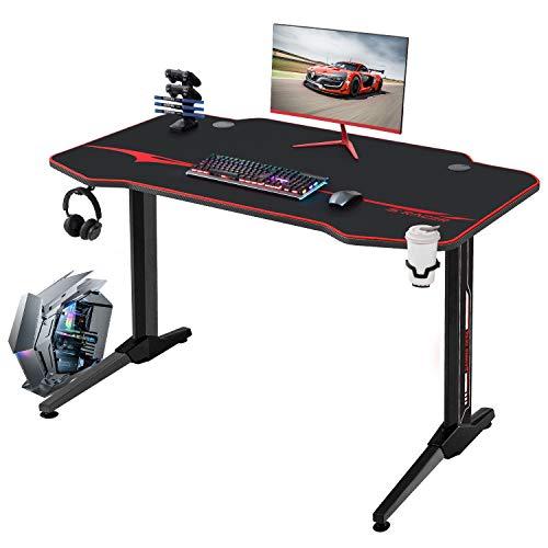 JUMMICO Mesa de juegos de estilo racing, 110 cm, escritorio grande en forma de T, con soporte para bebidas y soporte para auriculares, color negro