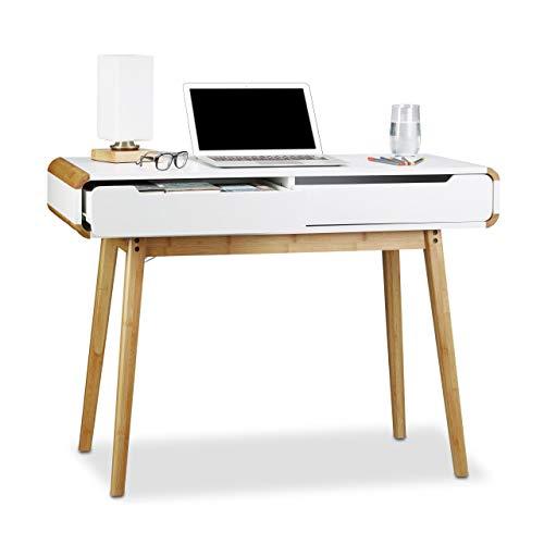 Relaxdays Escritorio con cajones, diseño nórdico, Lavabo, Escritorio de niño, Altura x Ancho x diámetro:73x 100x 45cm, Color Blanco, madera