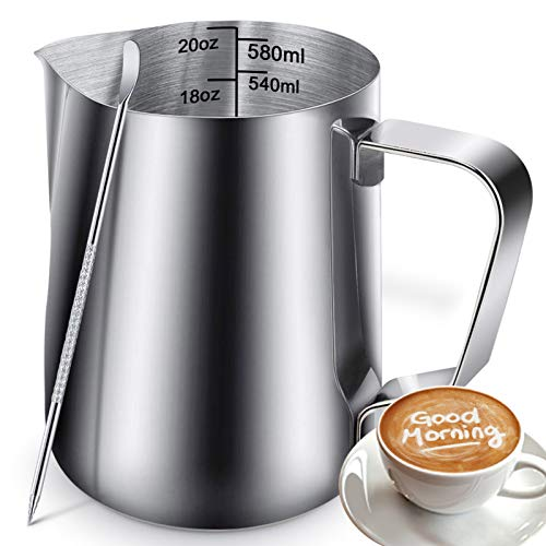 Milk Frothing Pitcher Jug - 20oz/600ML Measurements Steaming Pitchers, Stainless Steel Coffee Tools Cup, Espresso, Latte Art and Frothing Milk, Attached Latt Art Pen
