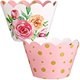 48 Pieces Floral Cupcake Wrappers Reversible Adjustable Cupcake Liner Wrap Pink and Gold Watercolor Flower Cupcake Holder for Gender Reveal Baby Shower Party Decoration