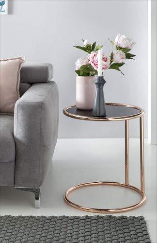 Wohnling Design bijzettafel metaal glas ø ⌀ 45 cm zwart/koper