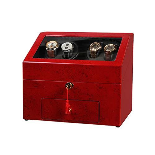 Cajón para Guardar Relojes y Joyas 4 + 6 Reloj Binder Caja para Relojes automáticos con cajón de Almacenamiento Pantalla de Piano de Piano de Madera Motor silencioso Estuche de Almacenamiento de Lujo