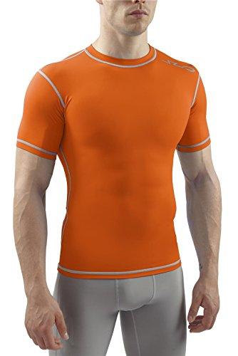 Sub Sports Herren Dual Kompressionsshirt Funktionswäsche Base Layer kurzarm, Orange, S