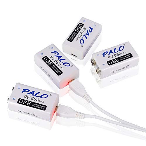 CITYORK 4er Pack 9V USB Akku 650mAh Li-Ion mit 2 in 1 USB Kabel für Keyboard Mikrofon Rauchmelder