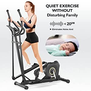 JKANGFIT Elliptical Machine - Elliptical Training Machines Elliptical Exercise Machine for Home, Quiet Driven Magnetic Elliptical with LCD Monitor, 8 Levels Resistance (Home-use)