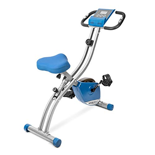Folding Magnetic Exercise Bike, Upright Recumbent Pulse Sensor Indoor Cycling Bike with LCD Monitor Phone Holder for Cardio Workout and Strength Training (Blue)