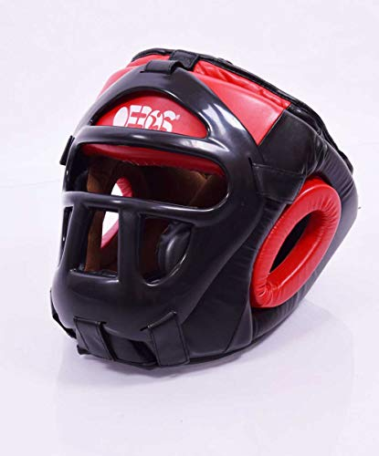 Ofbos Casque de MMA avec grille de boxe, arts martiaux Muay Thai Kick Boxing Head Guard Sparring (Ros, XL)
