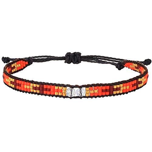 KELITCH Pulseras Con Cuentas De Perlas Pulseras De Envoltura De Cuerda De Cera Miyuki Beads Joyería De La Amistad Para Mujeres (Rojo)