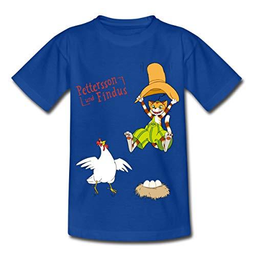 Pettersson Und Findus Kater Erschreckt Huhn Kinder T-Shirt, 122-128, Royalblau