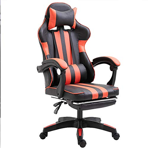 Ficmax Silla ergonómica para juegos Silla para computadora con masaje de soporte lumbar, sillas de juego para E-sports para jugador, silla de oficina con reposapiés y para reposacabezas (negro),Rojo