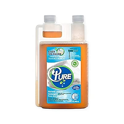 Pure Natural Laundry Detergent 64 Loads, 100% Natural Laundry Detergent for Sensitive Skin Free and Clear-Sensitive Skin Friendly-Hypoallergenic-Ingredients Listed on Label (1 Pack)