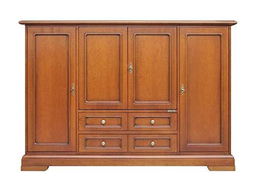 Arteferretto Sideboard Wohnzimmer 160 cm, Sideboard Möbel im Stil aus Holz in Kirschholz patiniert, Einrichtung klassisch, MONTIERT, B160xT40xH110 cm