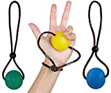 Secure Stress Balls on a String - for Stress Relief, Hand Exercise, Strengthening, Rehabilitation - Soft, Medium and Firm Stress Balls with Exercise Guide - No Falling or Rolling Away (3 Balls Set)