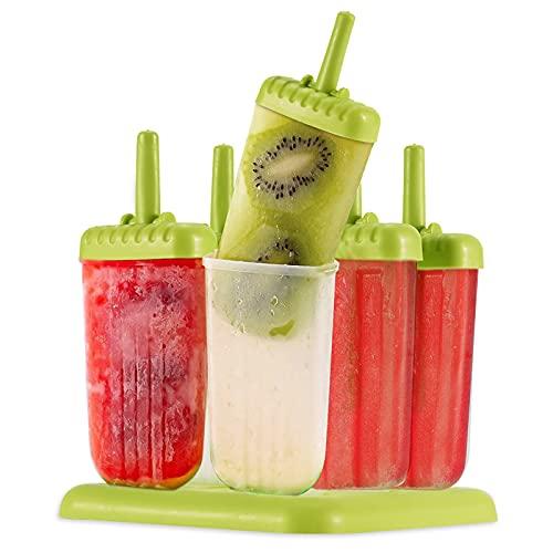 YOMYM Moldes para Paletas de Hielo, Juego de Moldes para paletas heladas Plástico Libre de BPA, Reutilizables, con Base para Congelador, Resistentes, Ecológicos (6 Piezas)