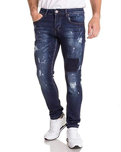 BLZ Jeans Style Denim blau zerrissen mit Farbflecken Gr. 46 DE, blau