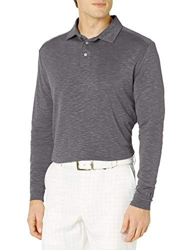 PGA TOUR Herren Long Sleeve Slub Polo Golf-T-Shirt, Caviar, Large