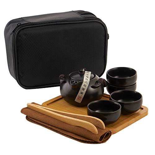 SOGREAT Tragbare Teeset Reise Kungfu Tee Set handgemachte chinesische Vintage Teetassen Porzellan Teekanne + 4 Teetasse + Putztuch + Bamboo Teetablett +Tee-Clip + Aufbewahrungstasche
