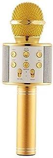 ميكروفون كاريوكي لاسلكي محمول دبليو اس-858 مزوّد بمنفذ USB ومشغل كيه تي في وبلوتوث - لون ذهبي