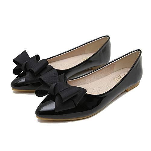 Kimpola Zapatos Mujer Bailarinas Plano Lindo Estilo Retro Salvajes Cucharada Puntiaguda Bombas Planas para de Noche/de Boda/Formal/Informal En Primavera Verano Otoo-Negro 33