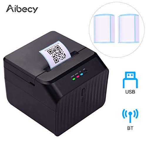 Aibecy Desktop 58mm Thermal Label Printer Wired Barcode Printer USB Connection with 2 Rolls Paper Inside Support ESC/POS Command Compatible with Windows Android iOS for Supermarket Store Warehouse