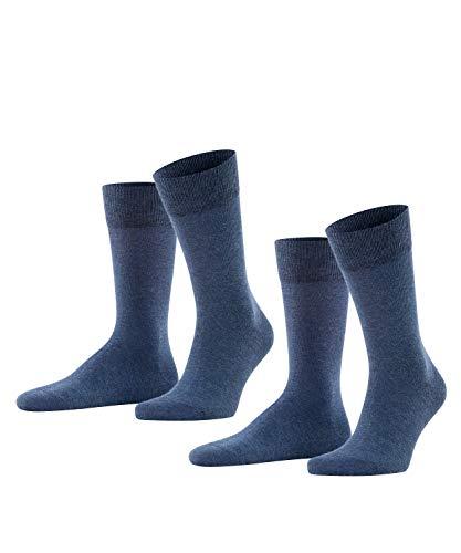 FALKE Happy 2-Pack Herren Socken navy mel. (6127) 43-46 Baumwollstrumpf für jedes Outfit