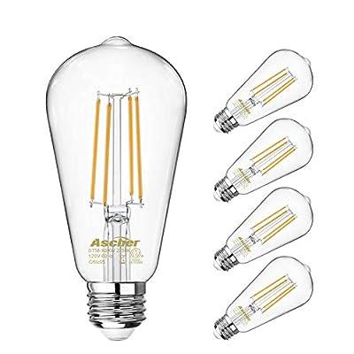 Vintage LED Edison Bulbs 60 Watt Equivalent,Eye Protection Led Bulb with 95+ CRI, Non-Dimmable, Warm White 2700K,ST58 Antique LED Filament Bulbs, E26 Medium Base, Pack of 4