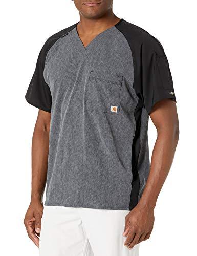 Carhartt Men's 2-Tone Raglan Sleeve Scrub Top, Charcoal Heather, LG