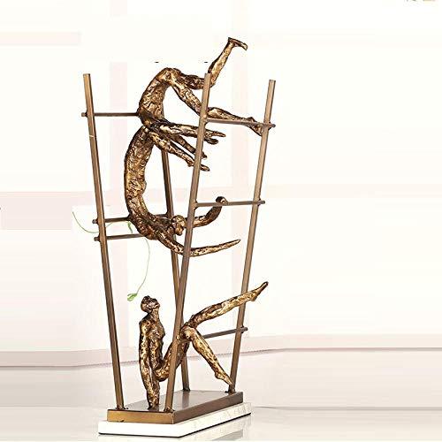 JLXQL Sculptures Décoratives Objets De Décoration Les Athlètes Forts sont Statue Décor À La Maison Artisanat Chambre Décoration Objets Bureau Métal Athlète Figurines-Gold_30X12X56Cm