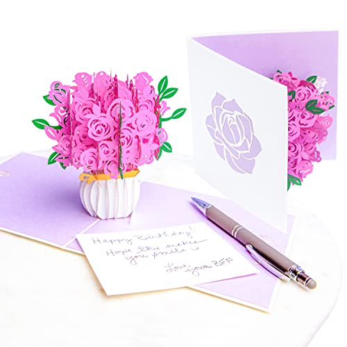 PopLife Pink Roses Pop Up Mothers Day Card - 3D Happy Anniversary, Bouquet Pop Up, Valentines Day Card, Happy Birthday, Engagement - for Mom, for Daughter, for Wife, for Sister