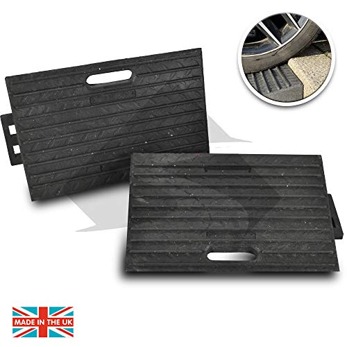 Street Solutions UK Rubber Kerb Ramps | Double Lightweight Mobility Threshold Ramps for Wheelchairs, Cars Vehicles, Caravan, Scooter Wheels, Skateboard, Motorcycle, Disabled Chair & Dog | Set of 2