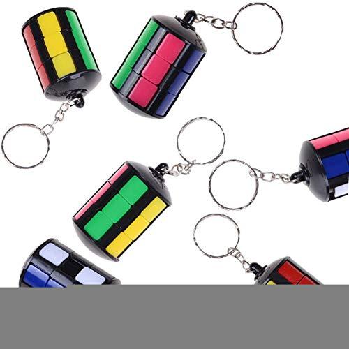 YCEOT 1 Pc Mode Kleurrijke Mini Smart Tower Magic Cube Sleutelhanger Pvc Sticker Blok Puzzels Leren Educatief Speelgoed Mannen Sieraden Ringen
