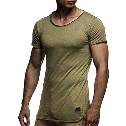 TEBAISE Herren 2019 Sommer T-Shirt Shirts Rundhals-Ausschnitt Slim Fit Moderner Männer T-Shirt Crew Neck Hoodie-Sweatshirt Kurzarm Männer Rundhalsausschnitt Oberteile