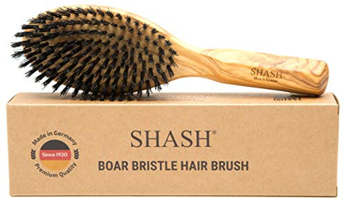 Made in Germany - SHASH Everyday 100% Boar Bristle Hair Brush Suitable For Thin To Normal Hair, Firm - Naturally Conditions Hair, Improves Texture - Exfoliates and Stimulates the Scalp