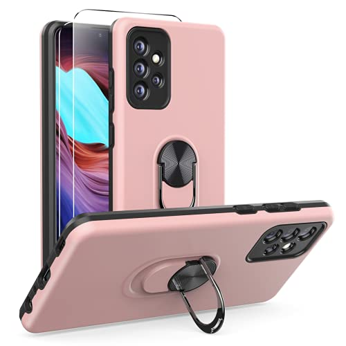 Ikziwreo - Funda para Samsung Galaxy A72 (4G&5G) y 2 Protectores de Pantalla de Vidrio Templado, TPU + PC Funda para teléfono con Soporte de Anillo a Prueba de Golpes-Oro Rosa