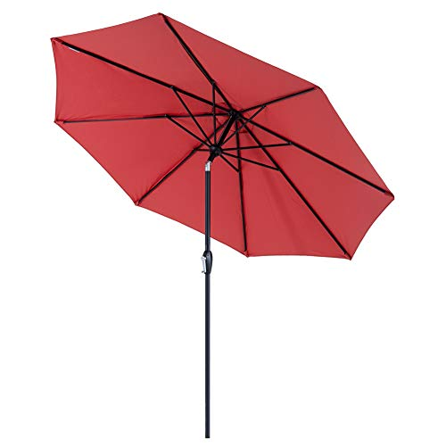 Tempera Patio Umbrella 9 Ft Outdoor Table Umbrella with Push Button Tilt and Crank 8 Ribs, Red