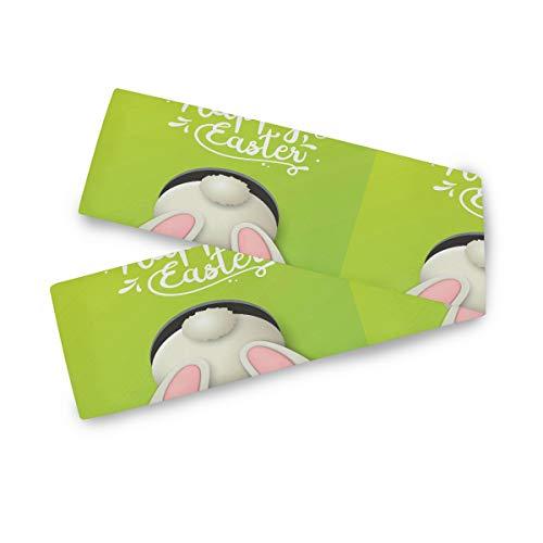 TropicalLife F17 - Camino de mesa rectangular con diseño de conejo de Pascua, 33 x 177 cm, poliéster, decoración para bodas, cocina, fiestas, banquetes, comedores, mesas de centro
