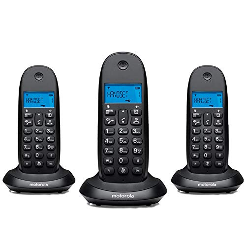 Motorola C1003LB+ Trio Teléfono fijo DECT inalámbrico Trio - Color negro - Pantalla LCD, 50 contactos, modo ECO - 3 unidades
