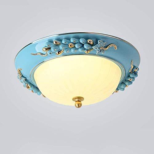 YANQING Duurzame Europese LED Keramisch Glas Plafond Lamp Koper Ronde Gesneden Porch Aisle Balkon Lampen Eenvoudige Smeedijzer Home Lampen 3 Kleuren Verlichten Leven (Kleur : Blauw), Kleur: Blauw